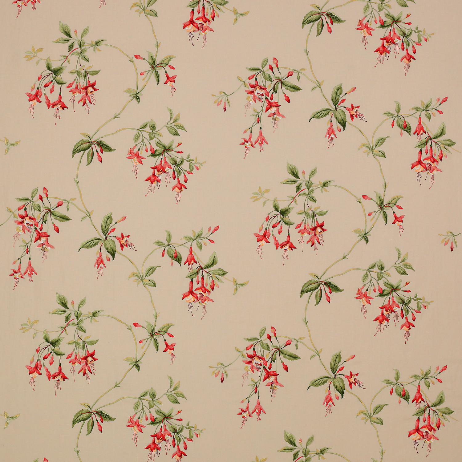 Colefax and Fowler Stoff Octavia Linen · Tomato/Green F4305/01